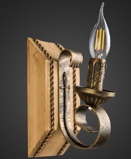 Бра деревянное свеча кантри  AR-004515 настенный светильник