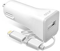 Автомобильное зарядное устройство GOLF GF-C3 Car charger + 2 in 1 cable 1USB 2,1A White, фото 1