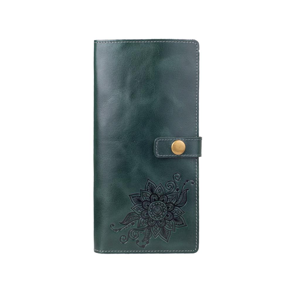 """Компактный тревел-кейс зеленого цвета с натуральной глянцевой кожи с авторским художественным тиснением """"Mehendi Classic"""""""