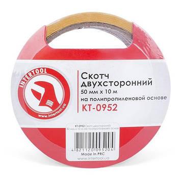 Скотч двосторонній 50 мм*10 м на поліпропіленовій основі INTERTOOL KT-0952