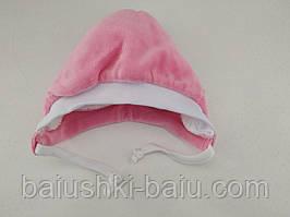 Шапка для новорожденного с завязками теплая (велюр, махра), р. 0-1 мес.
