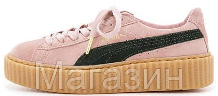 Женские кроссовки Puma Suede Creeper by Rihanna Пума Рианна Крипер розовые, фото 2