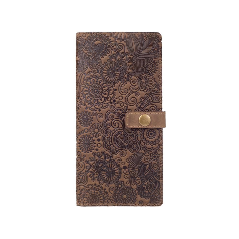 """Красивый кожаный тревел-кейс оливкового цвета, коллекция """"Mehendi Art"""""""