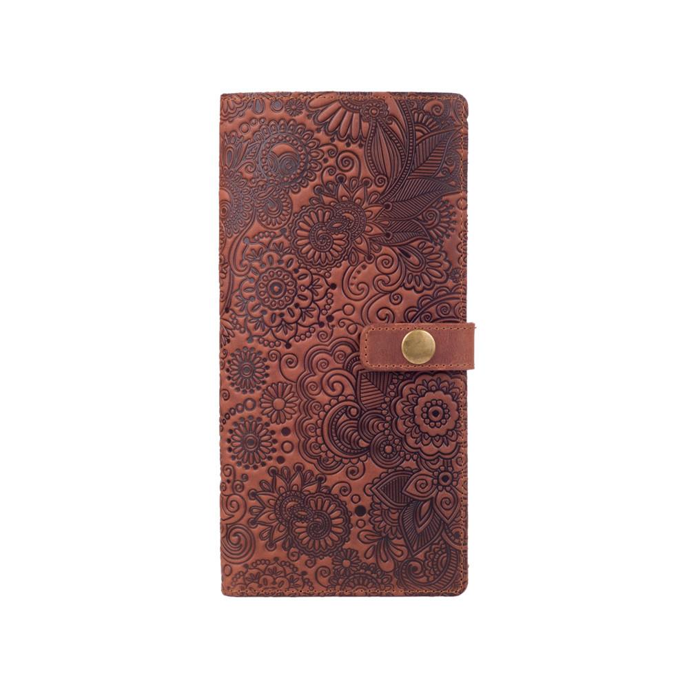 """Вместительный дизайнерский кожаный тревел-кейс коньячного цвета, коллекция """"Mehendi Art"""""""