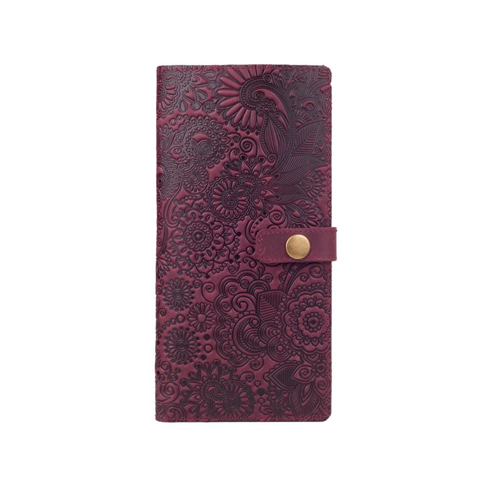 """Дизайнерский ергономический кожаный тревел-кейс с фиолетовой матовой кожи, коллекция """"Mehendi Art"""""""