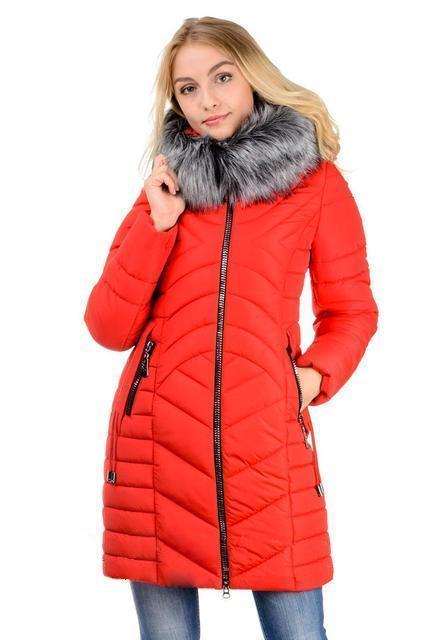 Женская зимняя куртка с искусственным мехом