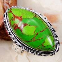 Серебряное кольцо с зеленой бирюзой