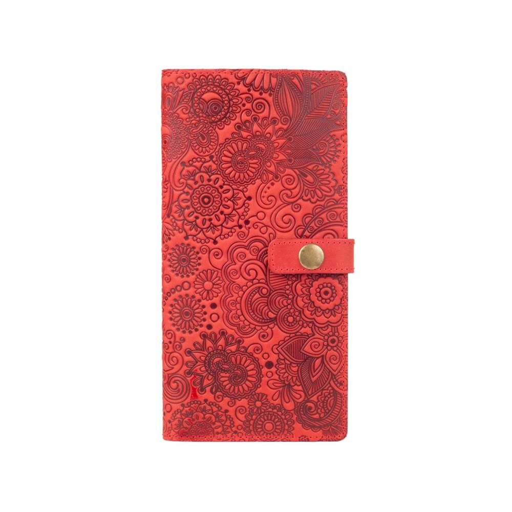 """Дизайнерский кожаный тревел-кейс с красной матовой кожи, коллекция """"Mehendi Art"""""""