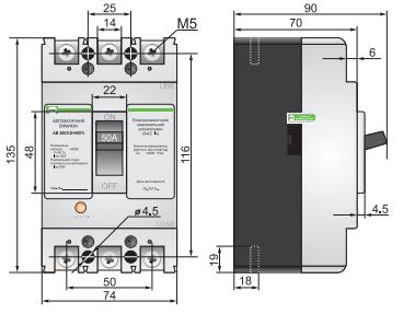 Габаритные размеры выключателя АВ3001