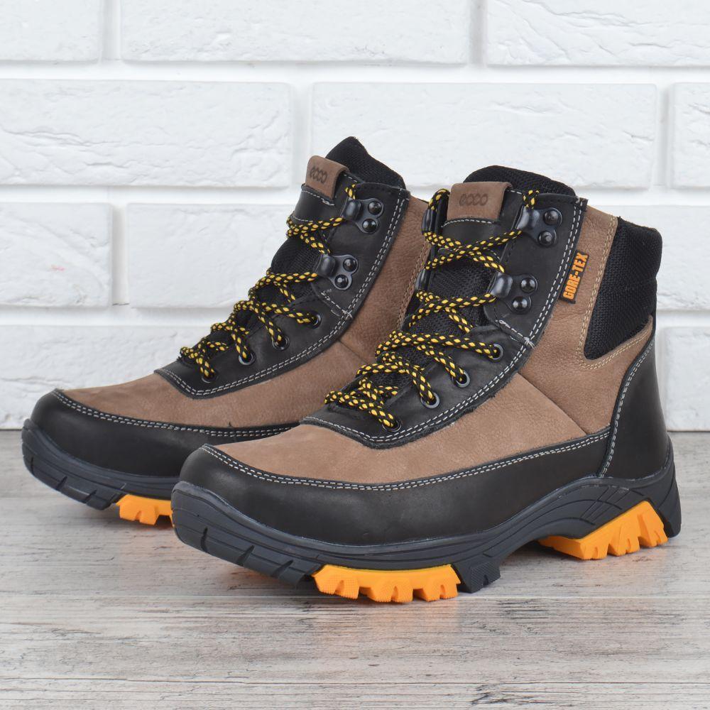 1ee57f4b2 Ботинки женские кожаные зимние Ecco натуральный мех черные беж, Бежевый, 39  - MarketShoes -