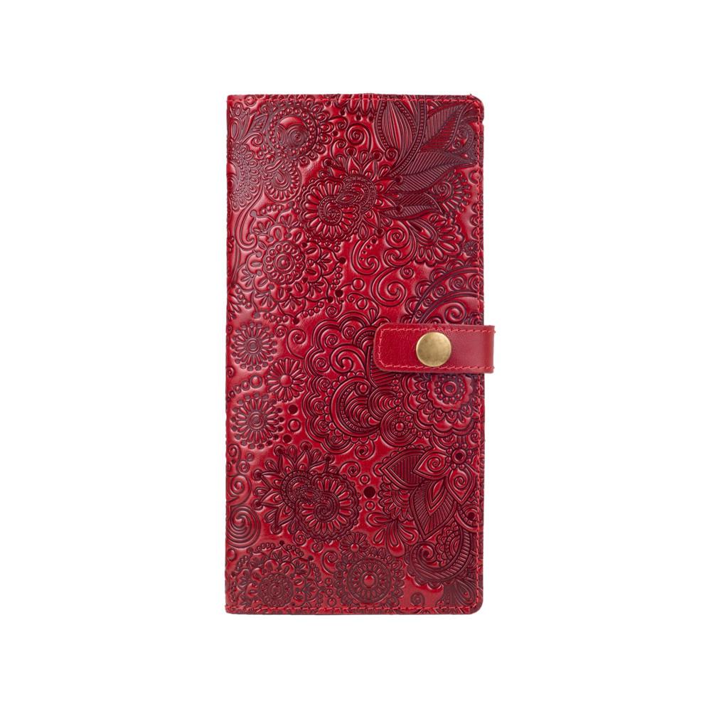 """Червоний тревел-кейс з натуральної глянсової шкіри, колекція """"Mehendi Art"""""""