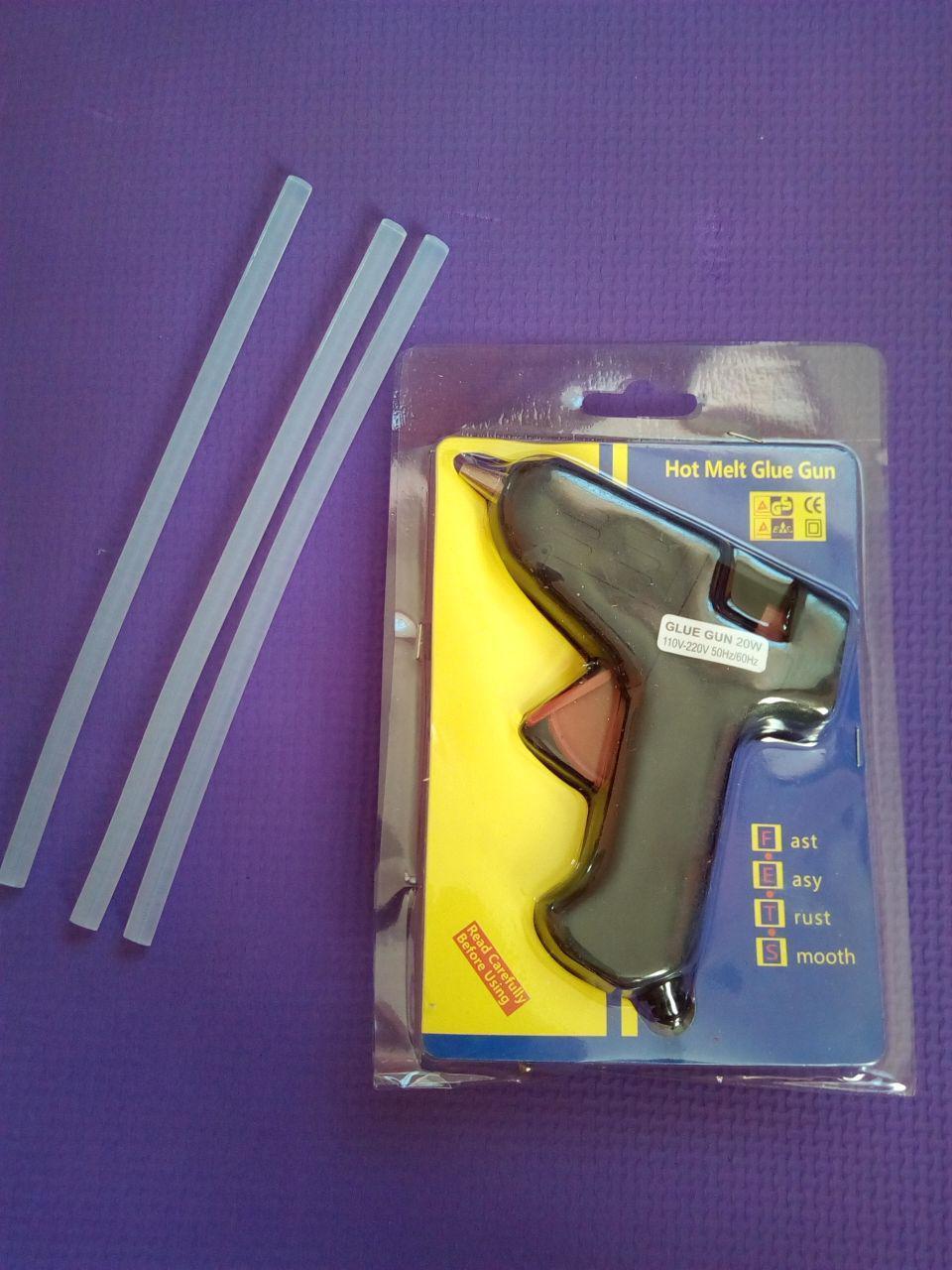 Клейовий пістолет + 3 стрижня в подарунок