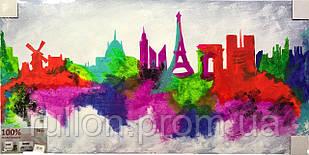"""Картина ручная работа """" Цветной Париж"""" 120*60см"""