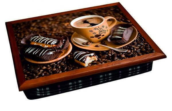 Мягкий поднос  BST 040287 44*36 коричневый кофе и шоколадные печеньки
