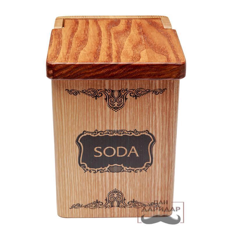 """Емкость для соды деревянная """"Soda"""" с узором"""