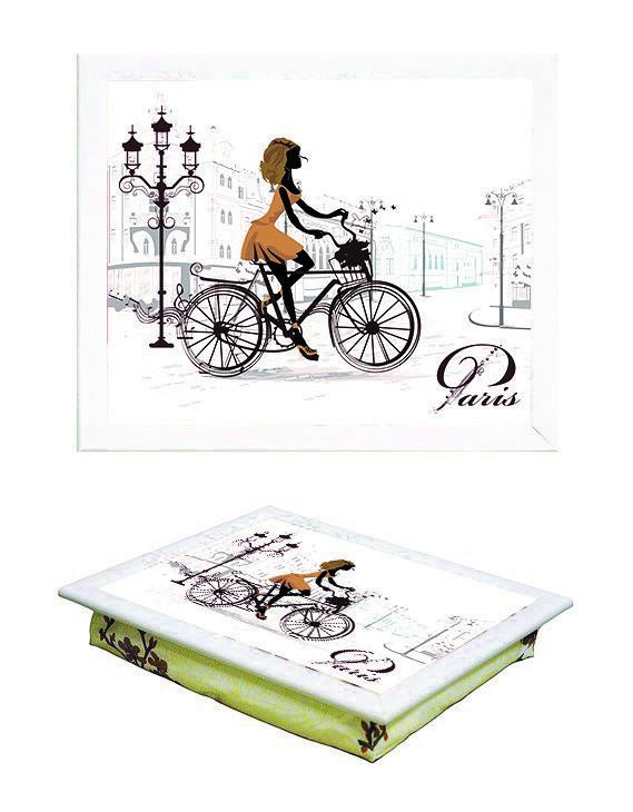 Поднос на подушке BST 040390 44*36 белый  девушка на велосипеде