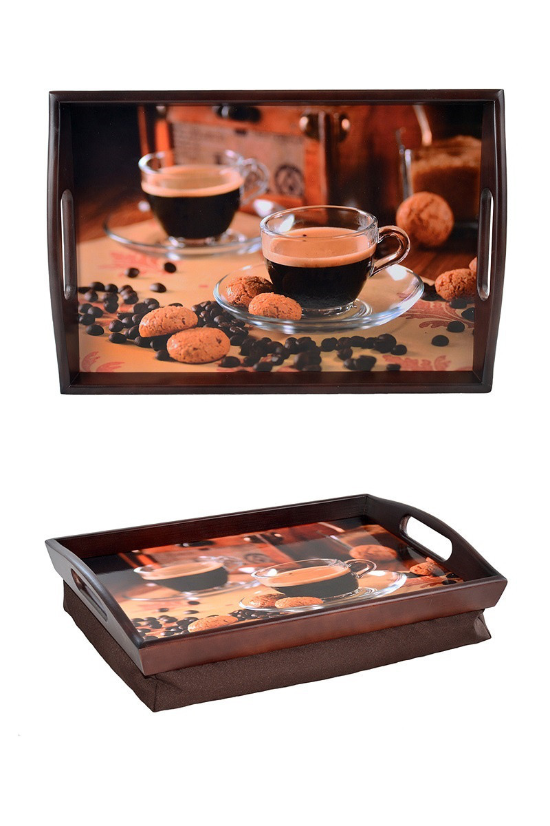 Поднос на подушке с ручками BST 48*33 коричневый Кофейня
