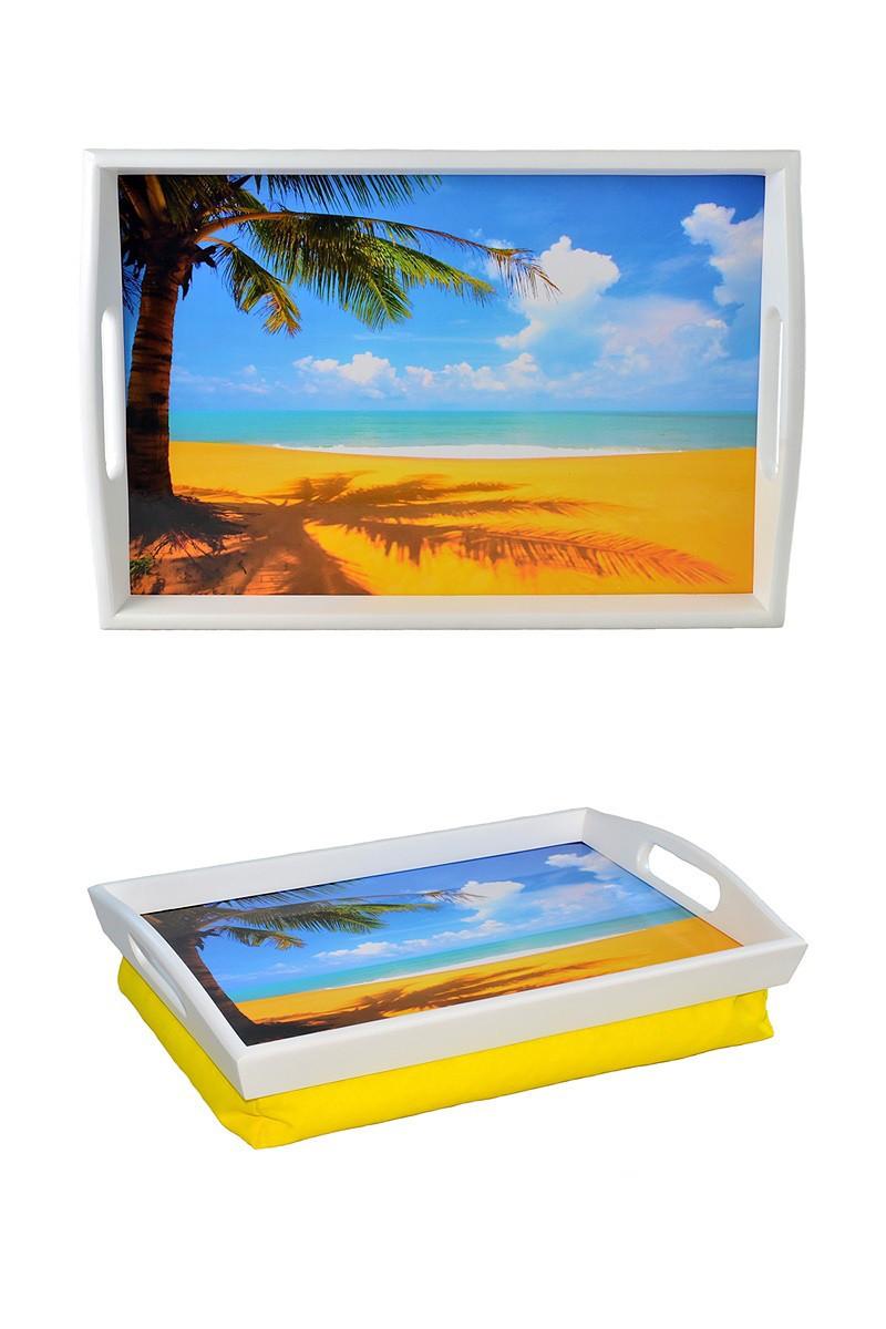 Поднос с подушкой с ручками BST 48*33 бело-желтый Пляж