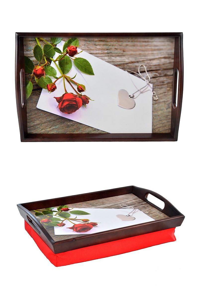 Поднос на подушке с ручками BST 48*33 коричнево-красный Кулон сердце