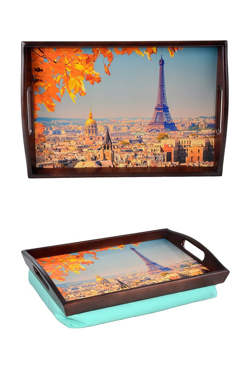 Поднос на подушке с ручками BST 48*33 коричнево-голубой Осенний вид на Париж