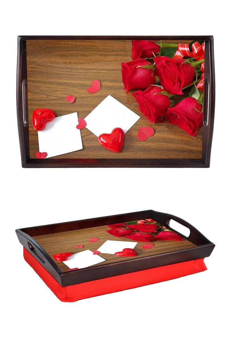 Поднос на подушке с ручками BST 48*33 коричнево-красный Розы