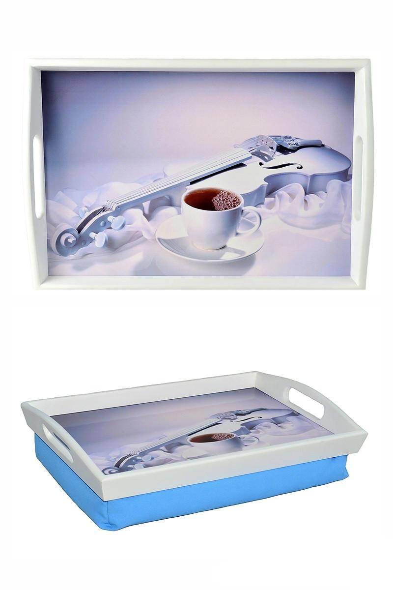 Поднос на подушке с ручками BST 48*33 бело-голубой Белая скрипка