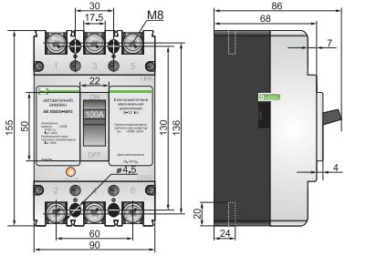 Габариты автоматических выключателей АВ3002