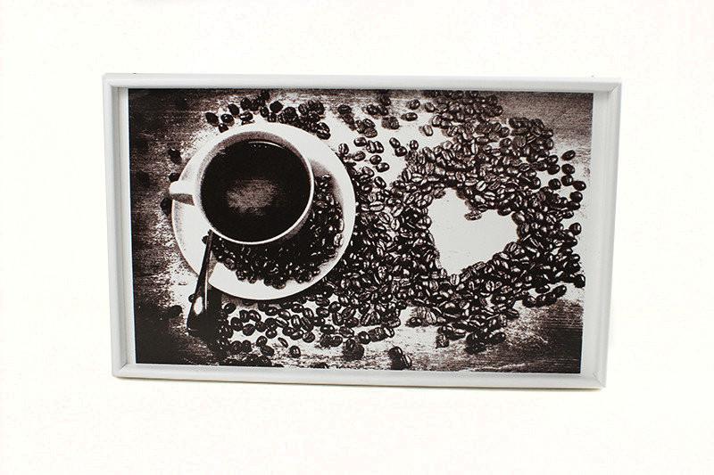 """Столик  для завтрака в постель BST 040166 белый 52х32см. """"Кофе и чашка"""""""