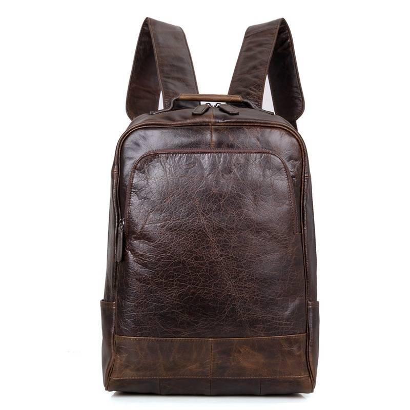 Рюкзак мужской кожаный городской BST 280055 38х12х30 см. темно-коричневый