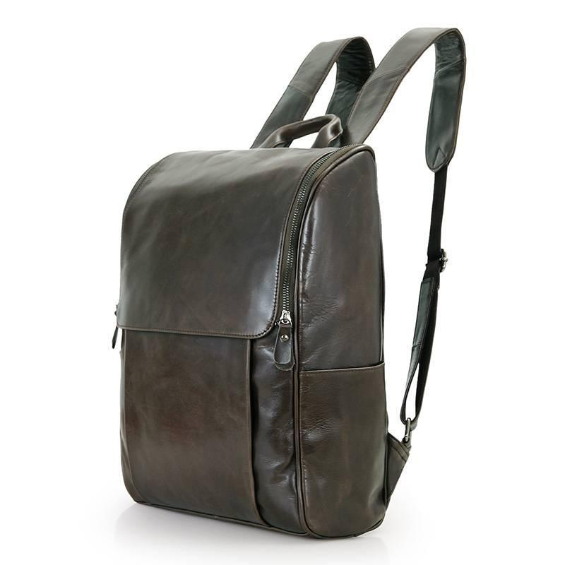 Рюкзак мужской кожаный городской серый