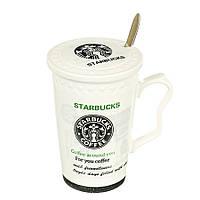 "Чашка ""Starbucks"" с ложкой, black logo (320 мл.), фото 1"