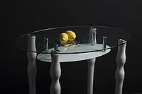 """Стол стеклянный """"Овальный с крашенной полкой"""" стол для гостинной или кухни"""