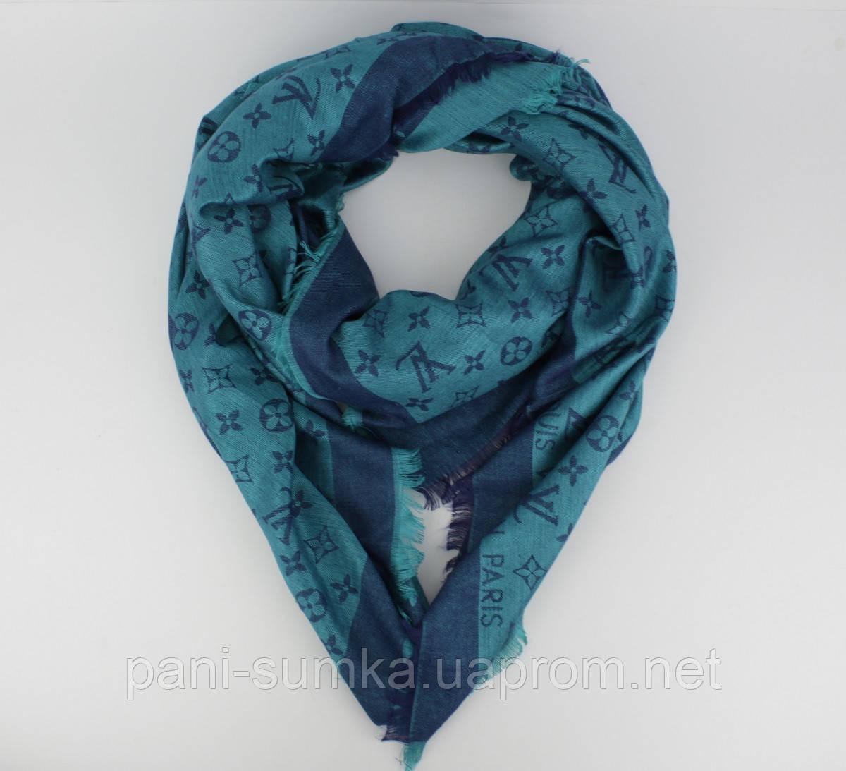 62a955664b23 Большой кашемировый платок Louis Vuitton 7988-27 сине-голубой двусторонний,  расцветки, фото