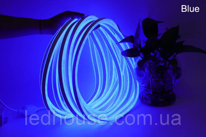 Светодиодный неон гибкий 220В 2835/120 Синий led IP68 Premium