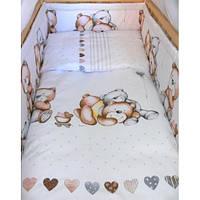Бортики в детскую кроватку защита со съемными чехлами Мишка сердце