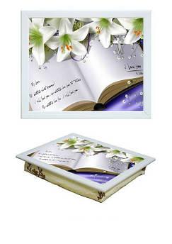 Поднос на подушке BST 040387 44*36 белый лилии на книге