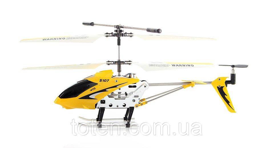 Вертоліт на радіоуправлінні метал каркас, чітке управління, юсб зарядка/від пульта жовтий Syma 107G