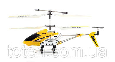 Вертолет на радиоуправлении металл каркас, четкое управление, юсб зарядка/от пульта желтый Syma 107G