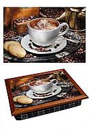 Поднос подушка BST 040337 44*36 коричневый кофе с печеньем