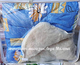 Зимнее теплое одеяло открытое на овчине евро размер, фото 3