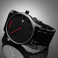 Мужские наручные часы MVMT Leather Black/Black в стиле минимал