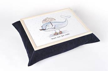 Поднос на подушке BST 210017 47*37 бежево-черный солидный кит
