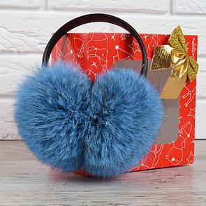 Наушники меховые кожаный ободок натуральный мех голубые Нирвана, Голубой