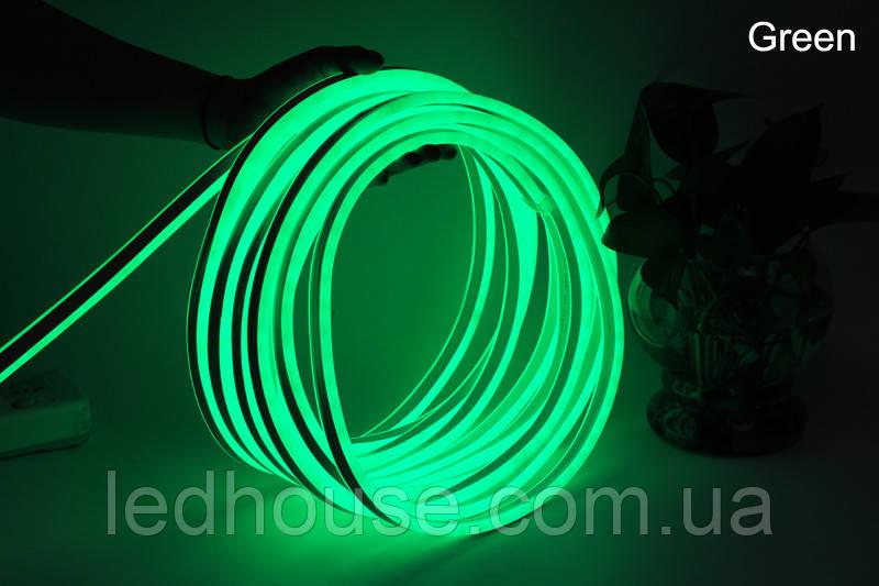 Светодиодный неон гибкий 220В 2835/120 Зелёный led IP68 Premium