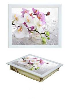 Поднос на подушке BST 040384 44*36 белый орхидея под дождем