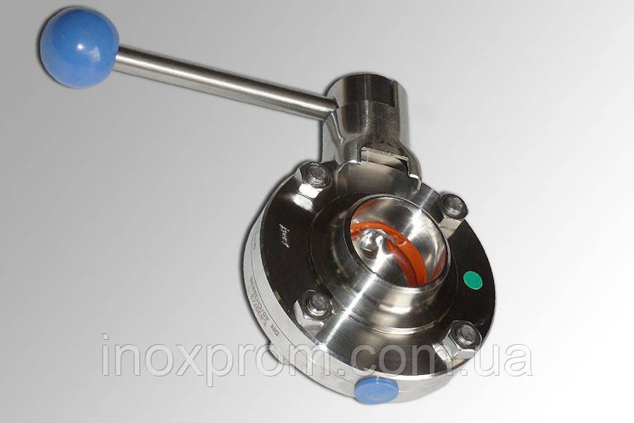 Затвор дисковый нержавеющий(дисковый кран) сварка-сварка пищевой DN65