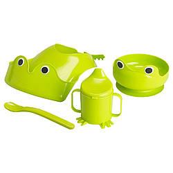 МАТА Набор детской посуды, 4 предмета, зеленый 40084861 IKEA, ИКЕА, MATA