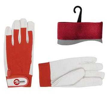 Шкіряна рукавичка комбінована зі шкіри і тканини INTERTOOL SP-0012