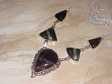 Флюорит колье ожерелье с натуральным флюоритом в серебре Индия, фото 3