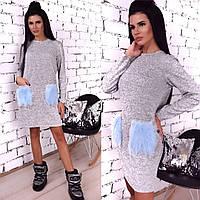 c79a193ab28 Женское прямое короткое ангоровое платье с карманами из искусственного меха  42-46